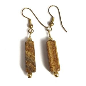 Natural Stone Drop Earrings Polished Cuboid
